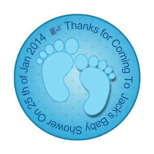 PERSONALIZED Baby Shower Favor Sticker Labels Cute Feet  15 Circle stickers