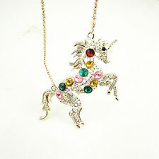Woman Crystal Colorful Steed Horse Unicorn Pendant Long Sweater Chain Necklace