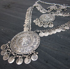 Tribal Coin Statement Long Necklace| Turkish Vintage Gypsy Boho Fashion Jewelry