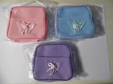 3x new girls prety small zipped purses 1xpink1xpurple1xaqua with18 hair bobbles