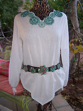 Darling Squash Blossom Turquoise Beaded Top~Southwestern~L/M~Double D Ranch