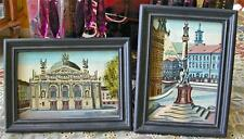 Vintage Miniature Oil Paintings European Towns Domed Cathedral Angels Column 2