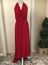 NEW! $396 Alice + Olivia Halter Cowl Neck Hi to Low Dress Red RARE [SZ 4 ] #N65