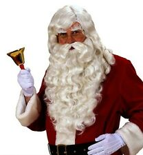 Super Deluxe Professional White Santa Claus Wig Beard Father Christmas Fancy Dre