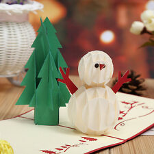 3D Pop Up Cards Christmas Tree Snowman Holiday Greeting Thanksgiving New Year to