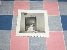 Old Photo Young Child in Front of Vintage Television  2 3/4 x 2 13/16 inches