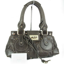 Auth Chloe Logos Stitched Leather Paddington Shoulder Bag Gray F/S 18726jSM