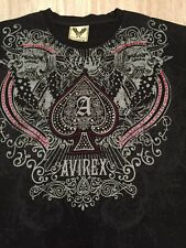 Men's  Large Graphic T Shirt AVIREX Ace Of Spade Studded