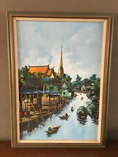 Vintage 1972 Bangkok Thailand Signed Oil Painting Fishing Village River Boats