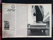 Vintage 1965 Plymouth Sport Fury  - 3 Page Article - Free Shipping