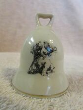 "SMALL WORLD GREETINGS- JAPAN, PORCELAIN ""DOG"" MINIATURE  CREAM/GOLD BELL"