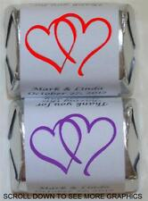 30 WEDDING DOUBLE LINKED HEARTS PARTY HERSHEY FAVORS WRAPPERS STICKERS SUPPLIES