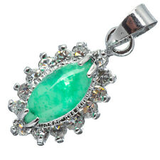 Chinese Emerald Green Jade Jadeite 18K White Gold Plated Oval CZ Pendant #015