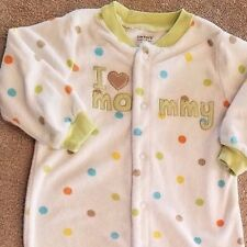 SWEET! BABY CARTER'S 6 MONTH I LOVE MOMMY TERRY CLOTH FOOTED SLEEP N PLAY OUTFIT