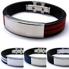 Hot Popular Mens Stainless Steel Bracelet Rubber Multi Colour Fashion Jewelry