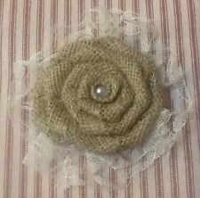 Burlap Lace Flower Shabby Chic Cottage Wedding Outdoor Party Table Centerpiece