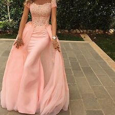 Unique Long Mermaid Prom Dresses With Train Short Sleeve Pink Evening Party Gown