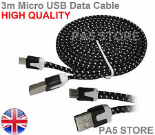 3m Black Braided Flat Micro USB Charger Data Cable 3 Meter PREMIUM QUALITY  UK