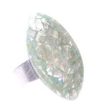 Iridescent, Oval & Teal Pearlescent One Size Fits All Chrome Hand Ring (Zx45/74)