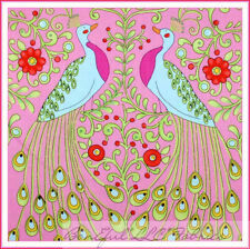 BonEful Fabric FQ Cotton Pink Red Bright Flower Retro Peacock Bird Feather Toile