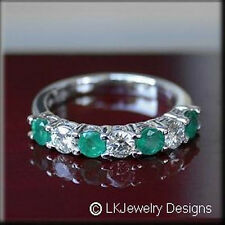 1.24 CT FOREVER CLASSIC MOISSANITE ROUND & NATURAL EMERALD SEMI ETERNITY RING