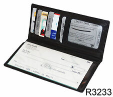 Black Genuine Leather Thin Unisex Checkbook Thin Cover Card ID Holder Wallet NEW