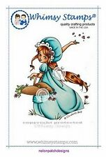 Cute GIRL GLANCING TOSSING PETALS Cling Mount Rubber Stamp WHIMSY STAMPS BNIP