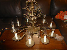 Vintage Cast Brass 10 Light Chandelier Very Rich In Detail 70+ years Old