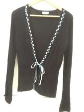 WANKO THIN SWEATER Open Front Cardigan SIZE F SMALL Black Ribbon Tie