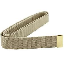 "USN NAVY BELT MALE KHAKI COTTON WITH BRASS TIP 44"" x 1 1/4""    NEW"