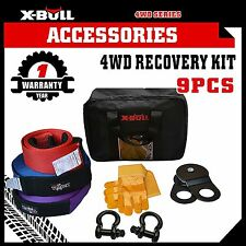 4WD Recovery Kit Snatch Straps Bow Shackles Pulley Block Winch X-BULL 9PCS