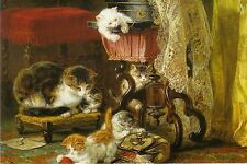 Tarjeta de felicitación: Mischief Makers-pintura de Henriette ronner-Knid (1821-1909)