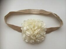 Gold Baby Hairband Headband Large Ivory Side Flower Bridesmaid Flower Girl