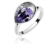 Crystal Purple Teardrop Small Size M Engagement Ring Diameter 16.5 mm FR135