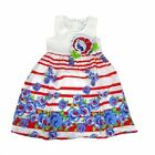 Girls Party Dress Red White Stripe Blue Floral Summer Sun Size 4 5 6 7 8