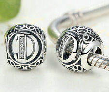 hot letters D European Silver CZ Charm Beads Fit sterling 925 Bracelet Chain #5