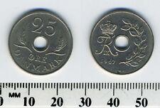 Denmark 1967 - 25 Ore Copper-Nickel Coin - King Frederik IX - Center Hole
