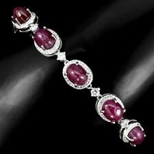 GORGEOUS OVAL CAB 9x7mm TOP BLOOD RED RUBY-W CZ STERLING 925 SILVER BRACELET