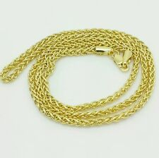 """14k Yellow Gold Round Hollow Wheat Necklace Chain 16"""" 2.4mm"""
