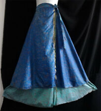 NEW Gypsy Hippie BOHO INDIAN RETRO PAISLEY SILK BLUE 2 LAYERS LONG WRAP SKIRT