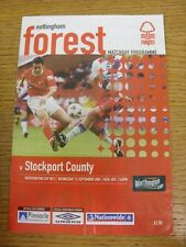 12/09/2001 Nottingham Forest v Stockport County [Football League Cup] (creased).