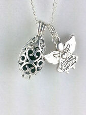 Sterling Silver Filigree Teardrop Diffuser necklace Guardian Angel Aromatherapy
