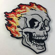 LAUGHING SKULL WITH FLAMES SEW ON OR iRON ON BIKER MOTORCYCLE PATCH No-145