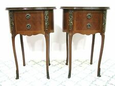 *PAIR* French Style Oval Stands With Two Drawers &  Patterned Veneers