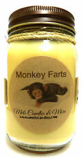 MONKEY FARTS 16oz  Homemade Country Jar Soy Candle - Apx Burn Time 144 Hours