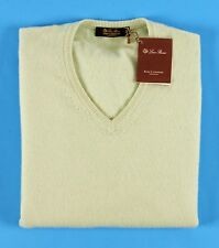 LORO PIANA 100% BABY CASHMERE V-Neck Sweater w/ Hang Tag - Green - 54 L Large