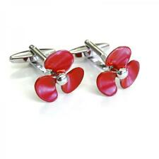 Red Ships Propeller Cufflinks Sailing Ship Boat Sea Fan Cuff Links Gift Set New