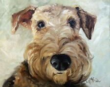 Airedale dog terrier ART PRINT of original oil painting by Mary Sparrow welsh