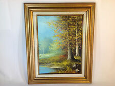 Vintage Mid-Century Landscape Oil Painting of Forest and Stream Nice Wood Frame