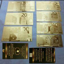 LOTTO DI BANCONOTE EURO IN FOGLIA D'ORO CON LINGOTTO PURO 24KT GOLD CERTIFICATO.